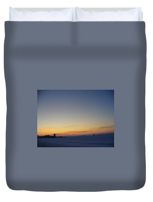 Photography Duvet Cover featuring the photograph Winter Sunrise Over The Farm by Peggy King