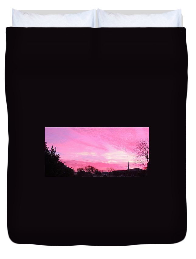 Sunrise Duvet Cover featuring the photograph Winter Sunrise by Sarah Avignone
