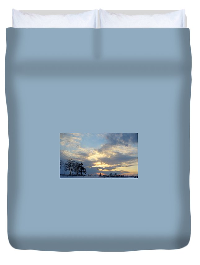 Sunset Duvet Cover featuring the photograph Winter Sunset - Lambton County by Peggy King