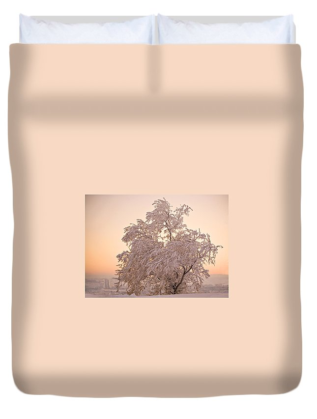 Winter Duvet Cover featuring the photograph Winter Sunset by Marilyn Hunt