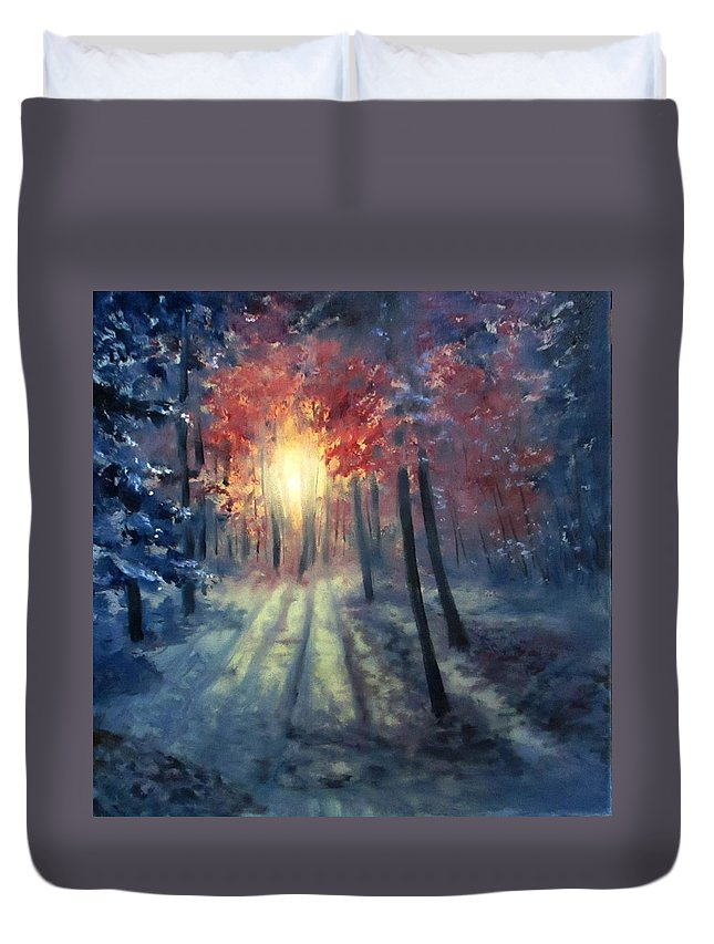 Sunset Duvet Cover featuring the painting Winter sunset by Natalja Picugina