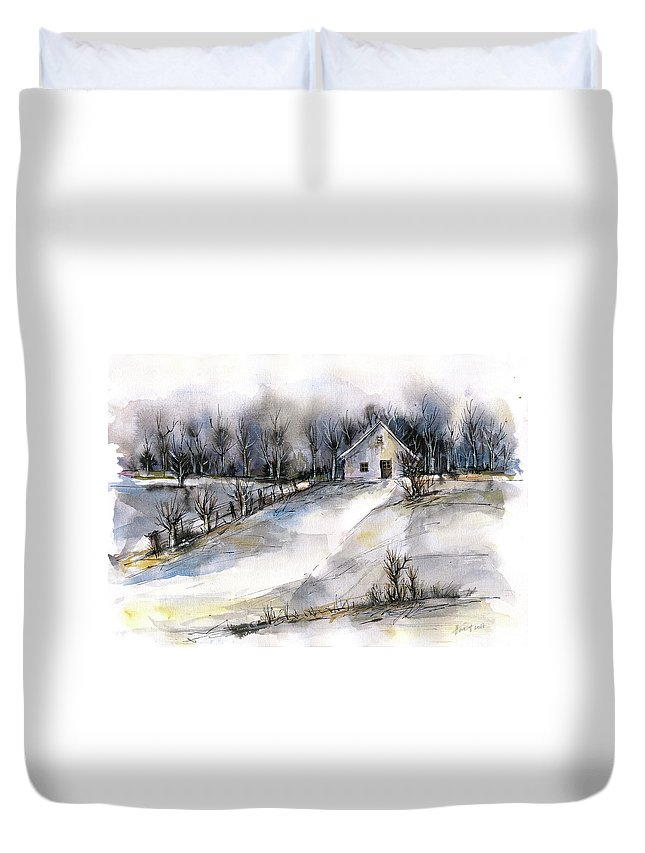 Abstract Landscape Duvet Cover featuring the painting Winter tale by Aniko Hencz