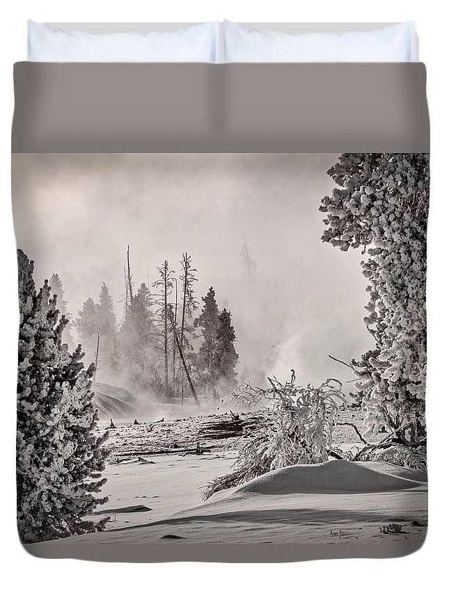 Yellowstone Duvet Cover featuring the photograph Winter Thermal Steam - Yellowstone by Stuart Litoff