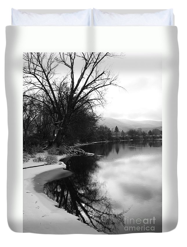 Black And White Duvet Cover featuring the photograph Winter Tree Reflection - Black and White by Carol Groenen
