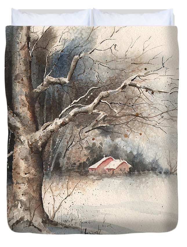 Tree Duvet Cover featuring the painting Winter Tree by Sam Sidders