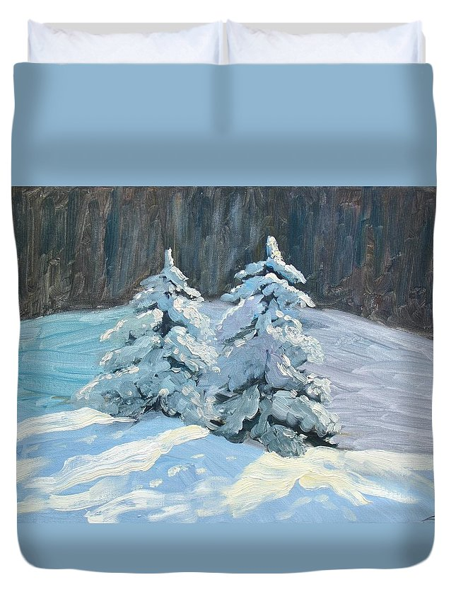 Landscape Duvet Cover featuring the painting Winter Trees by Elena Sokolova