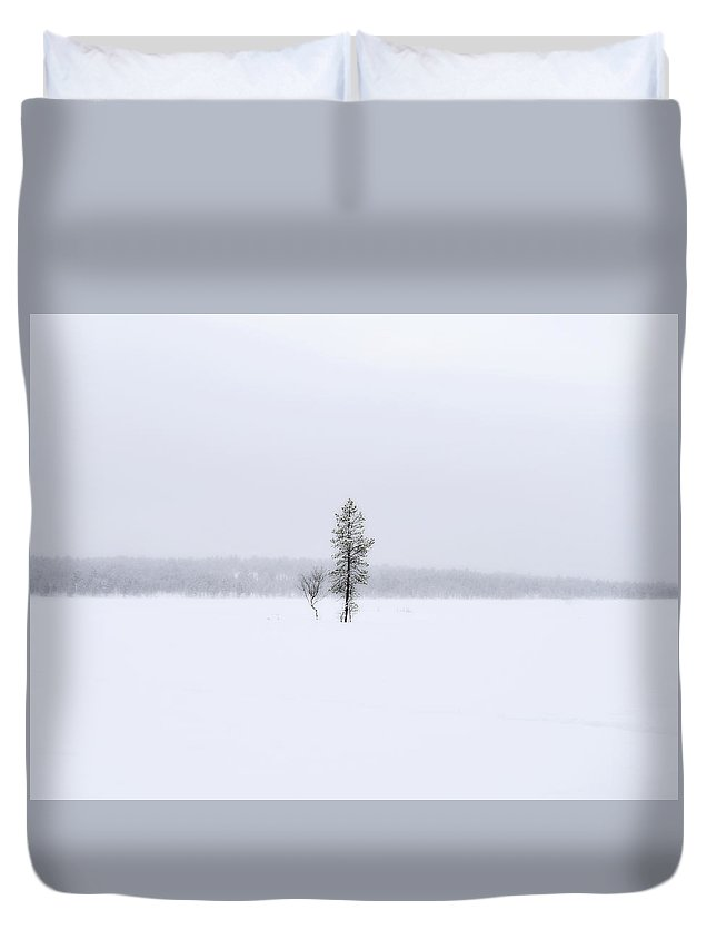 Winter Duvet Cover featuring the photograph Winter Trees by Jarno Holappa
