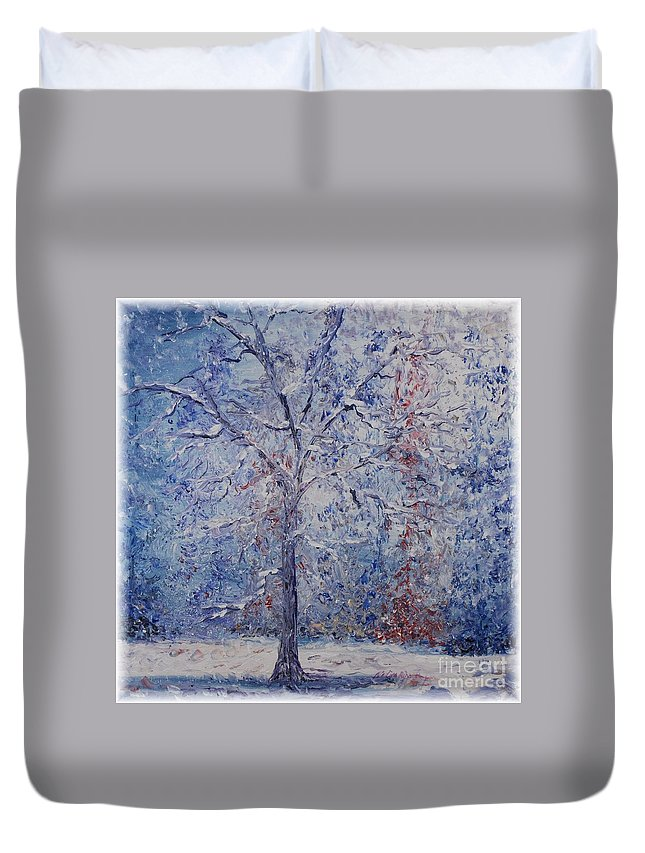 Winter Duvet Cover featuring the painting Winter Trees by Nadine Rippelmeyer