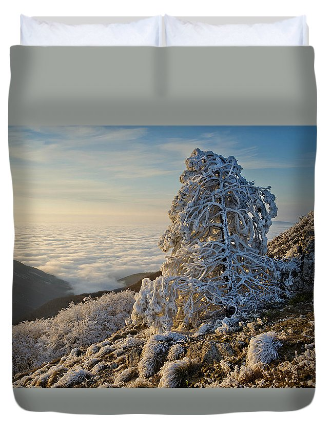 Winterq Moutain Duvet Cover featuring the photograph Winter by Tsoncho Balkandjiev