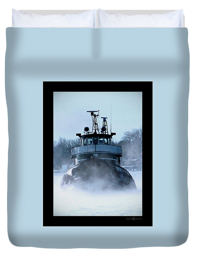 Tug Duvet Cover featuring the photograph Winter Tug by Tim Nyberg