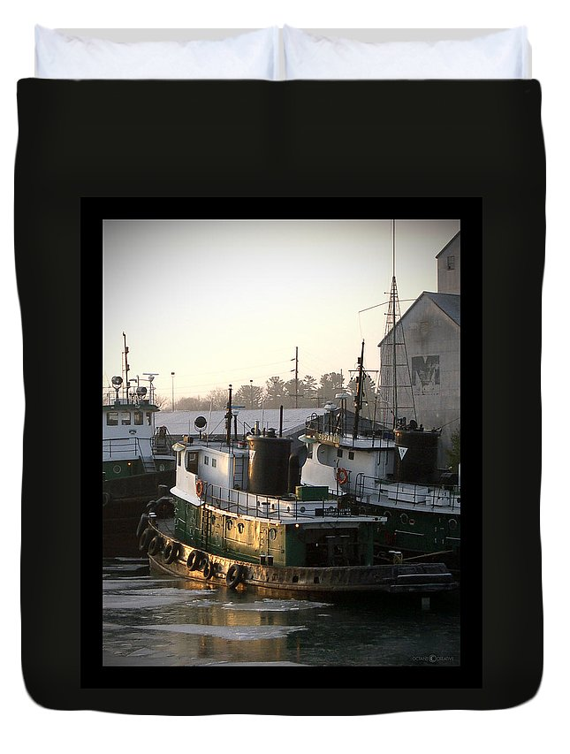 Tugs Duvet Cover featuring the photograph Winter Tugs by Tim Nyberg