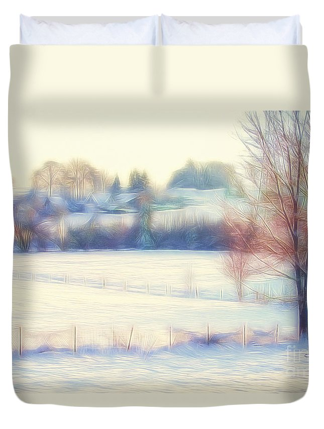 Photo Duvet Cover featuring the photograph Winter Village by Jutta Maria Pusl
