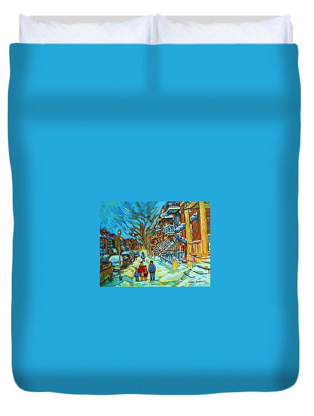 Winterscenes Duvet Cover featuring the painting Winter Walk In The City by Carole Spandau