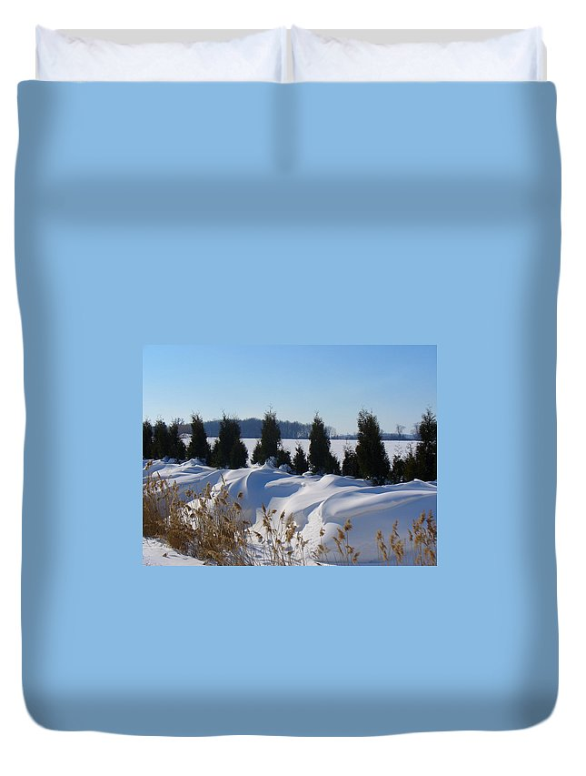 Snow Duvet Cover featuring the photograph Winter Waves by Peggy King