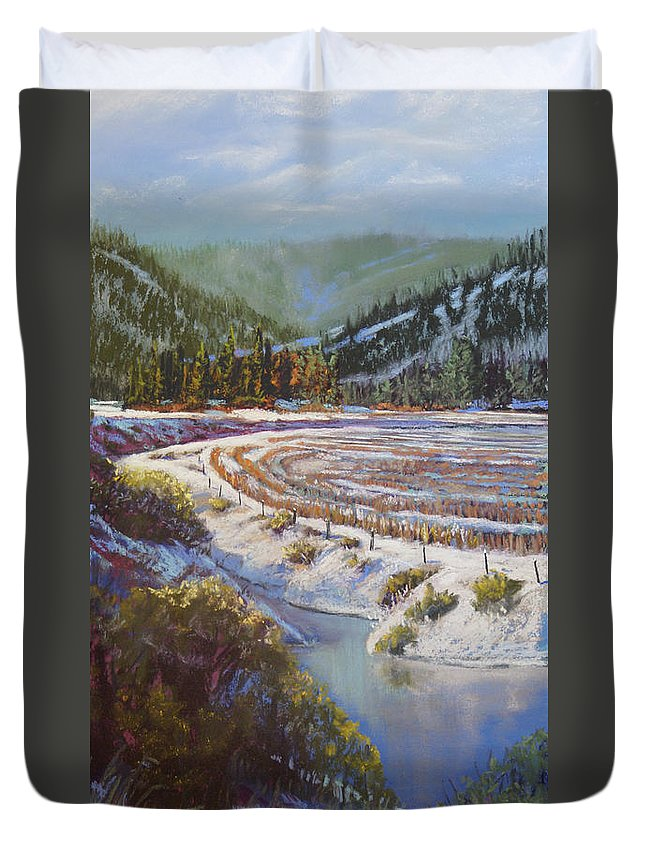 Lake Duvet Cover featuring the pastel Winter Wheat by Heather Coen