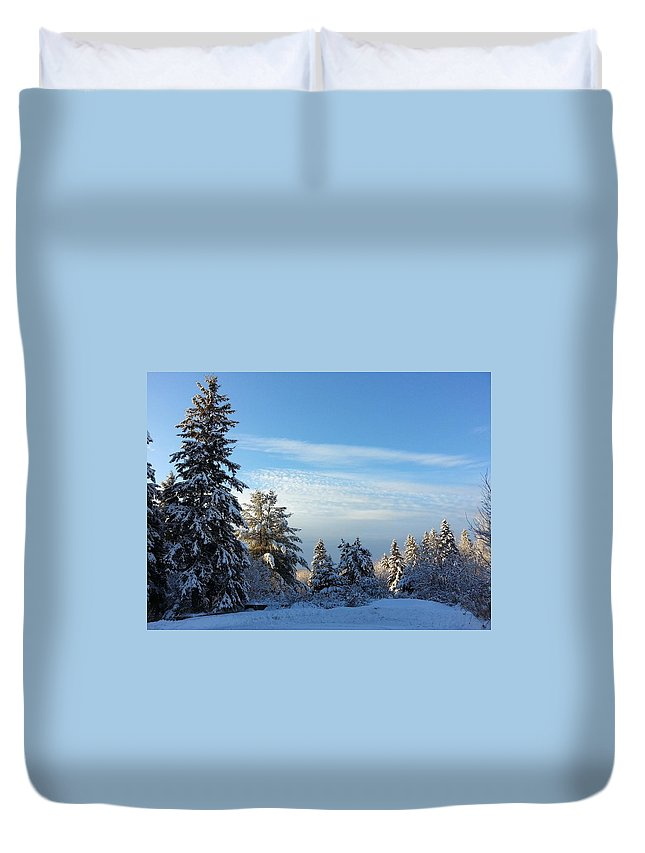 Lovely View Of A Beautiful Winters Morning. Looking At This Astonishing Picture Makes Me Feel Like I Could Breathe In The Fresh Air Of The Great North. This Picture Was Taken In Callander Ontario In 2015. Strong Tall Trees Reaching To The Sky Layered In Freshly Covered Snow. Duvet Cover featuring the photograph Winter Wonder by Natalie Barrow