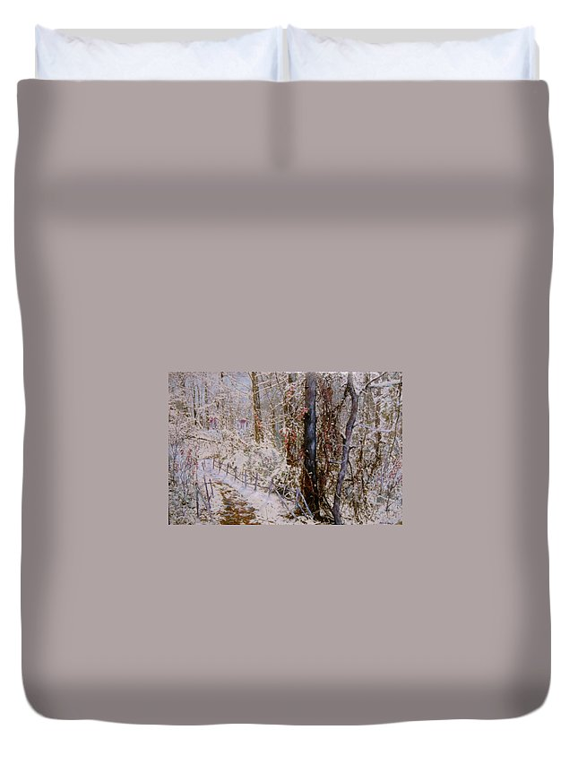 Snow; Trees Duvet Cover featuring the painting Winter Wonderland by Ben Kiger