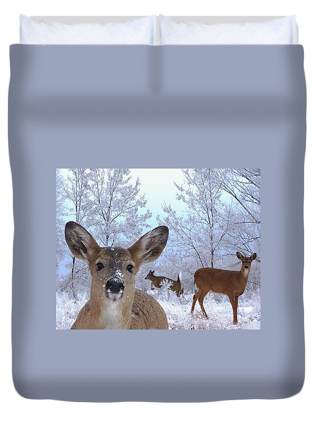 Deer Duvet Cover featuring the mixed media Winter Wonderland by Bill Stephens