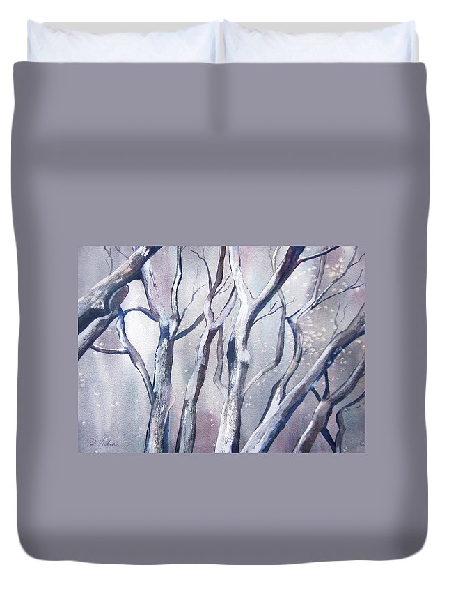 Landscape Duvet Cover featuring the painting Winter Woods by Pat Vickers