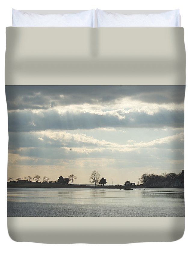Clouds Duvet Cover featuring the photograph Winter's Light At South Harbor by Margie Avellino