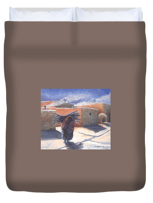 Adobe Duvet Cover featuring the painting Winter's Work by Jerry McElroy