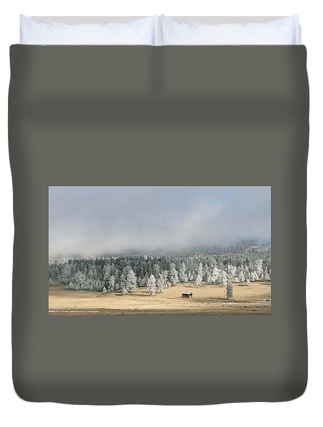 Frozen Fog Duvet Cover featuring the photograph Wintery Mountain Ranch by Judithann O'Toole