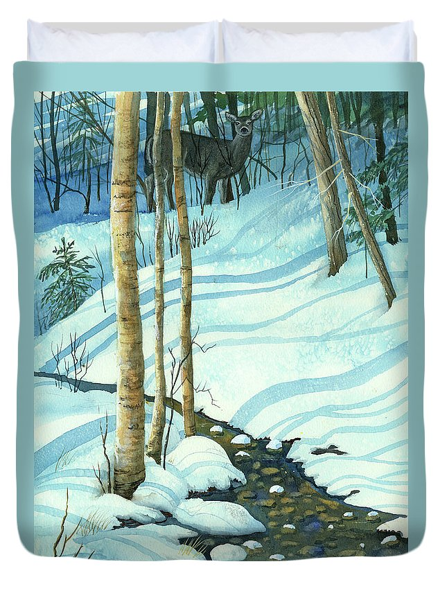 Winter Duvet Cover featuring the painting Wintrbrook by Cheryl Johnson