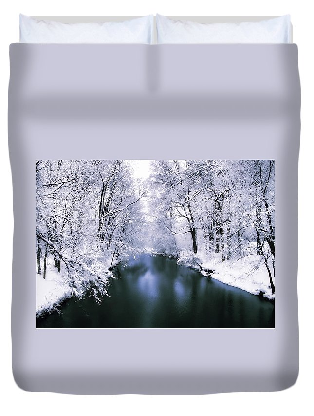 Winter Duvet Cover featuring the photograph Wintry White by Jessica Jenney