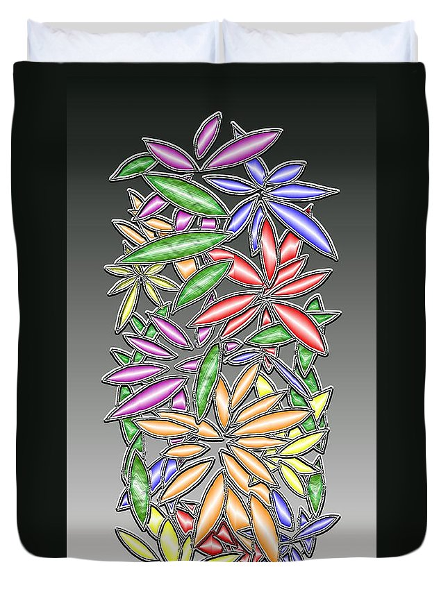 Abstract Duvet Cover featuring the digital art Wire Flowers by Mark Sellers