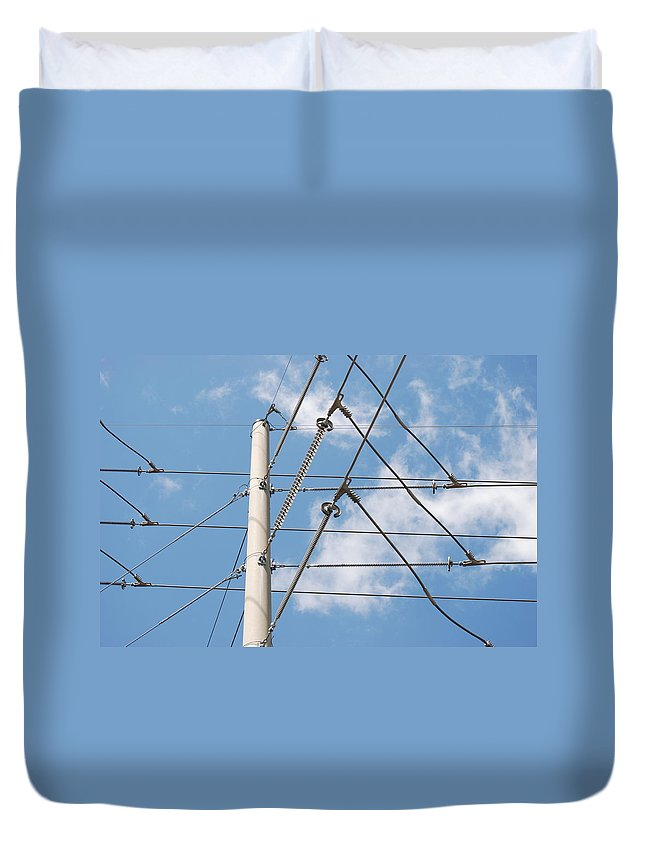Sky Duvet Cover featuring the photograph Wired Sky by Rob Hans