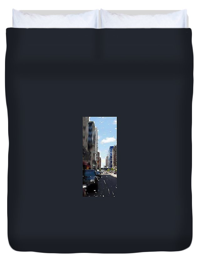 Milwaukee Duvet Cover featuring the digital art Wisconsin Ave 3 by Anita Burgermeister