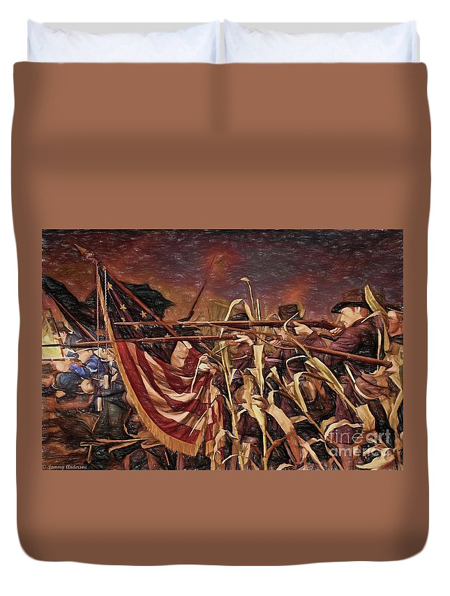 Wisconsin Black Hats Duvet Cover featuring the digital art Wisconsin Black Hats At Antietam - Colored Pencil by Tommy Anderson