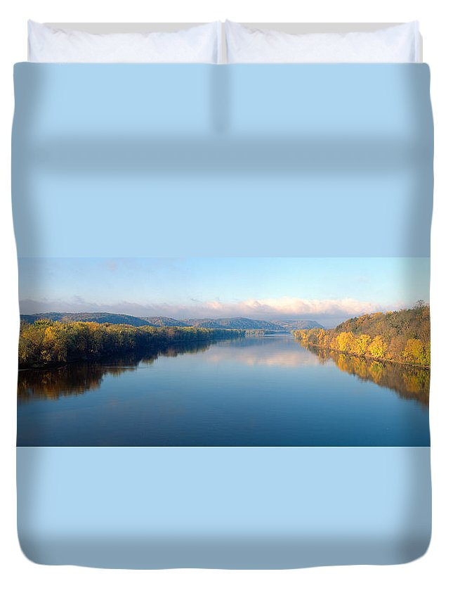 Photography Duvet Cover featuring the photograph Wisconsin River And Prairie De Chen by Panoramic Images