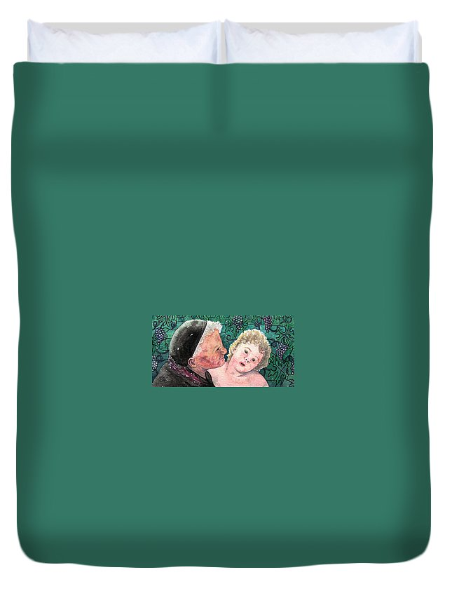 Child Duvet Cover featuring the painting Wisdom And Innocence by Gale Cochran-Smith