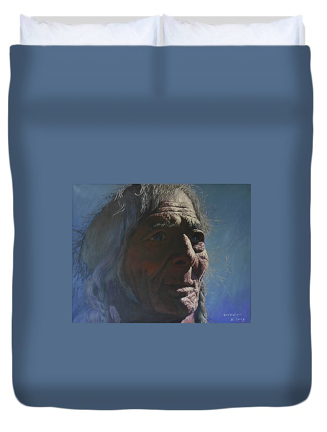 Portrait Tibet Duvet Cover featuring the painting Wisdom by Hui Zhi Song