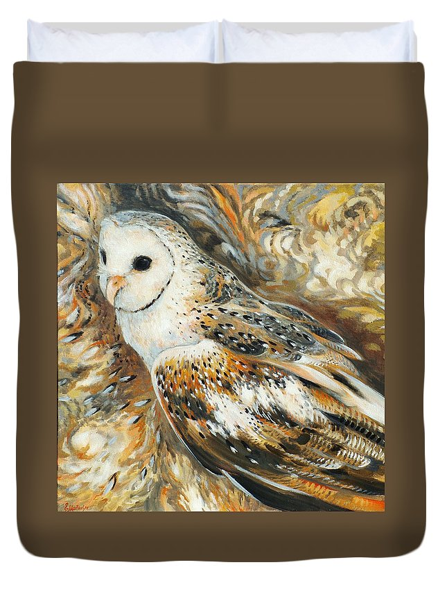 Owl Duvet Cover featuring the painting Wise Owl 4 by Ekaterina Mortensen