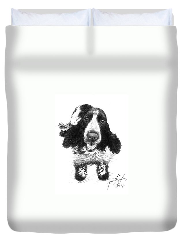 Cocker Spaniel Duvet Cover featuring the drawing Wish Lady by Renata Clare