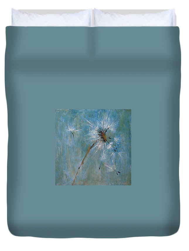 Landscape Duvet Cover featuring the painting Wishes by Barbara Andolsek
