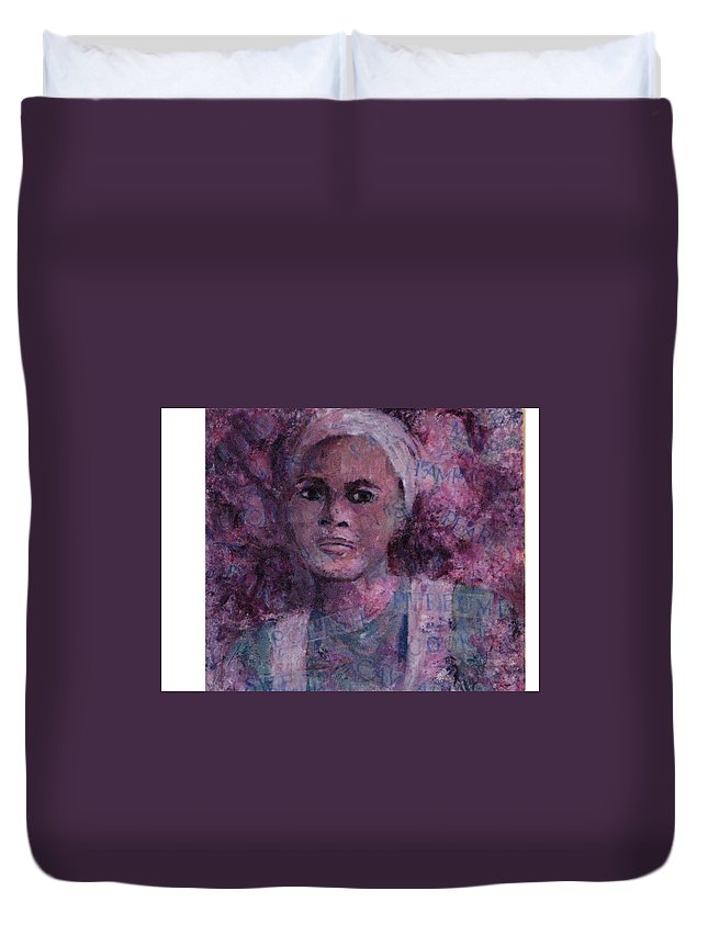 Woman Duvet Cover featuring the mixed media Wishful Thinking by Connie Freid