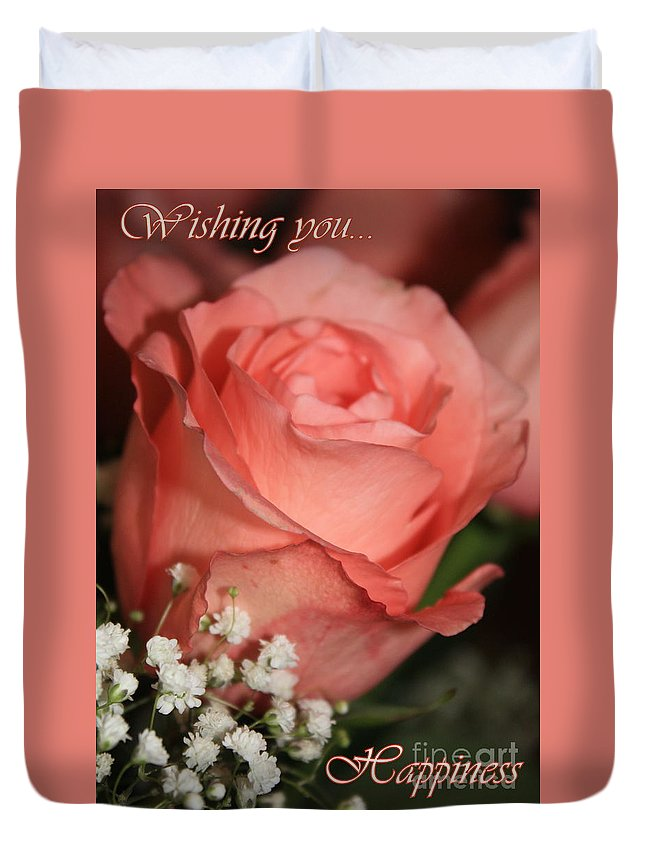 Card Duvet Cover featuring the photograph Wishing You Happiness Card by Carol Groenen