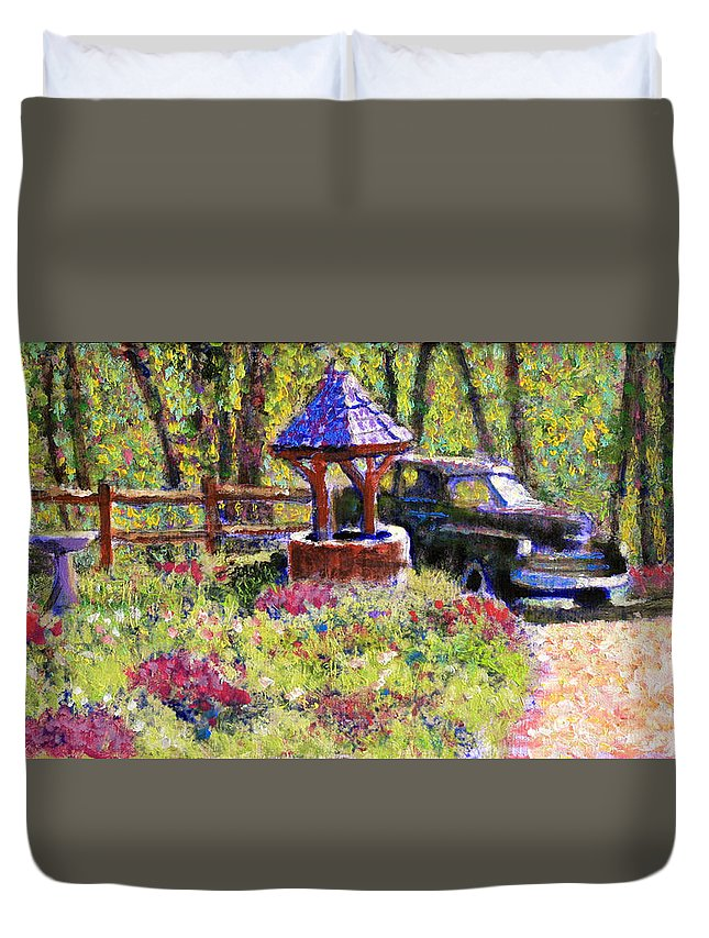 Wishing Well Duvet Cover featuring the painting Wishing You Well by David Zimmerman
