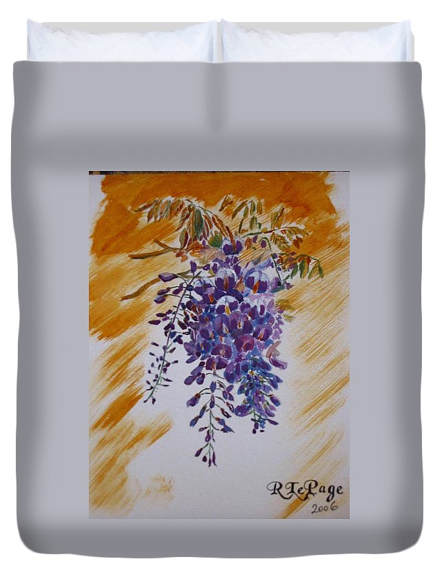 Wisteria Duvet Cover featuring the painting Wisteria by Richard Le Page