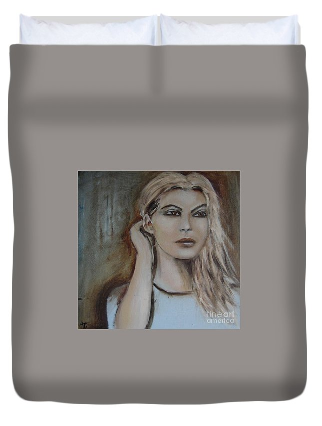Scandinavian Duvet Cover featuring the painting Wistful by Angela Cartner