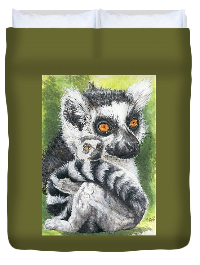 Lemur Duvet Cover featuring the mixed media Wistful by Barbara Keith