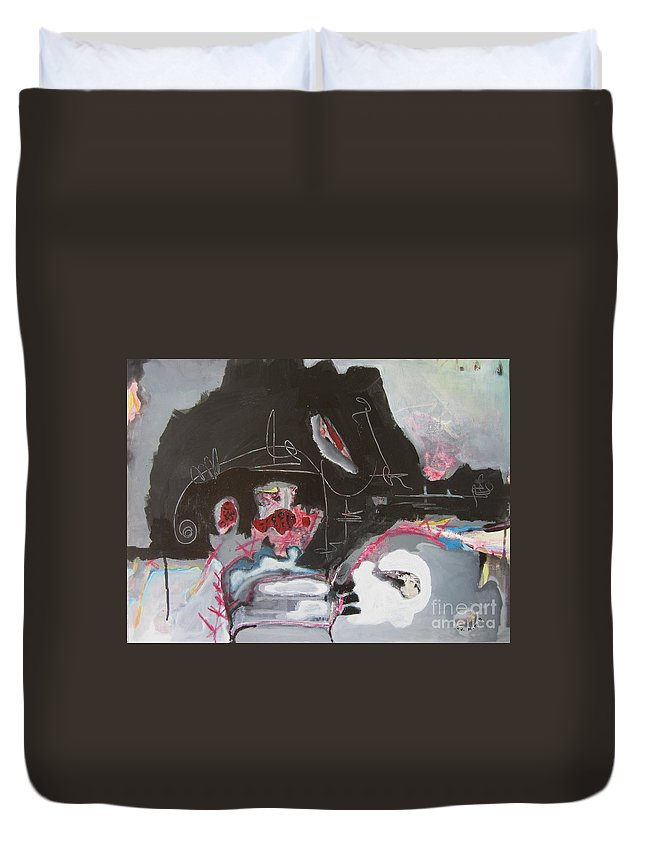 Abstract Paintings Duvet Cover featuring the painting With Little Escape From Life by Seon-Jeong Kim