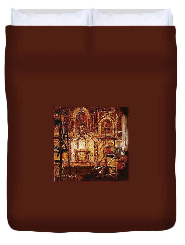 Chapel Duvet Cover featuring the painting Within The Scaffold by Barbara Andolsek