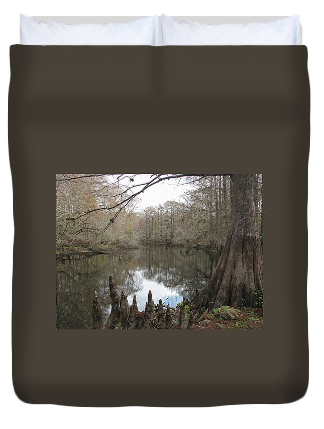 Nature Duvet Cover featuring the photograph Withlacoochie In Winter by Peg Urban