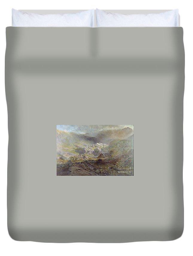 Alfred William Hunt - Cwm Trefaen Ca. 1855-60 Duvet Cover featuring the painting wm Trefaen by MotionAge Designs