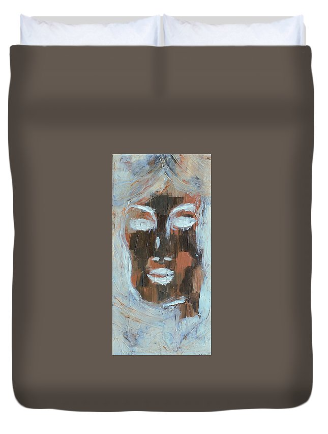 Wood Duvet Cover featuring the painting Woddwoman by Jennifer Klotz