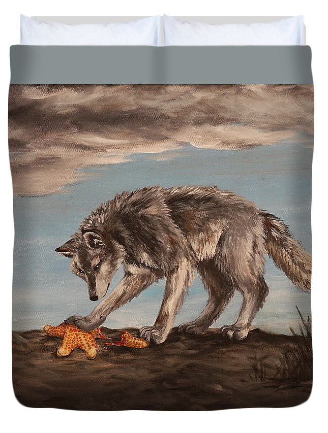 Wolf Duvet Cover featuring the painting Wolf And Sea Star by Michelle Miron-Rebbe